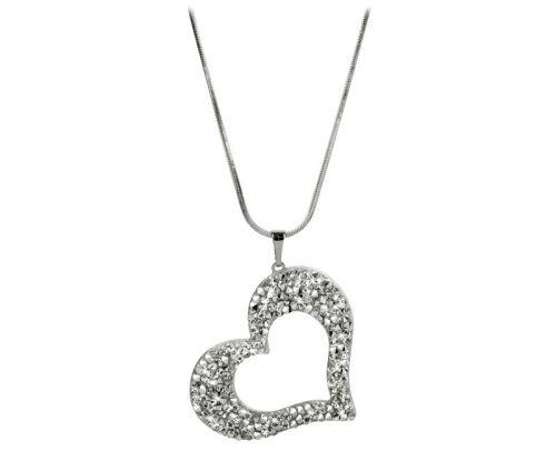 Levien Srdce se sypanými krystaly náhrdelník