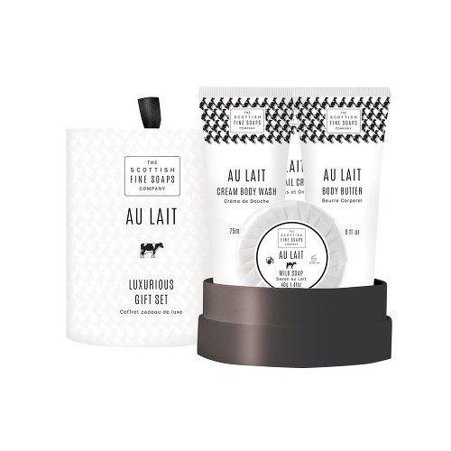 Scottish Fine Soaps Au Lait Sprchový gel 75 ml + tělové máslo 75 ml + krém na ruce 75 ml + mýdlo 50 g