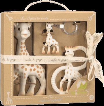 VULLI Trio žirafy Sophie žirafa Sophie, kousátko a klíčenka