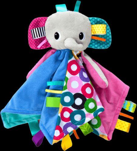 BRIGHT STARTS Dečka mazlící s hlavou Cuddle'n Tag slon