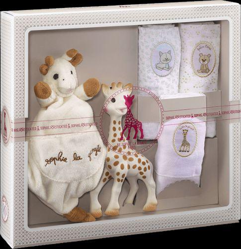 VULLI Můj první set žirafa Sophie, mazlík a set 3 plen