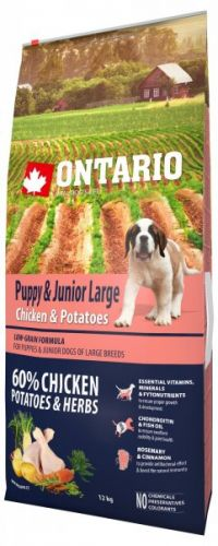 Ontario Puppy & Junior Large Chicken & Potatoes 12 kg