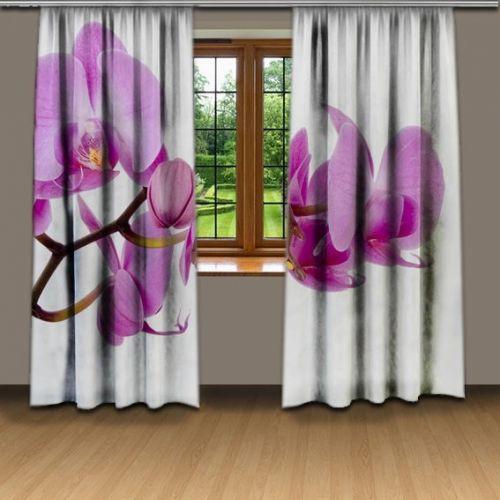 Xdecor Fialová orchidej 3D závěsy
