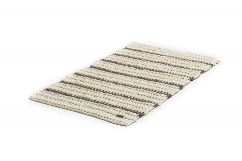 Justin Design smetanový s šedohnědým proužkem háčkovaný koberec