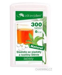 Zdravý den Stevia nekalorické přírodní rostlinné sladidlo 300 tablet 18 g cena od 125 Kč