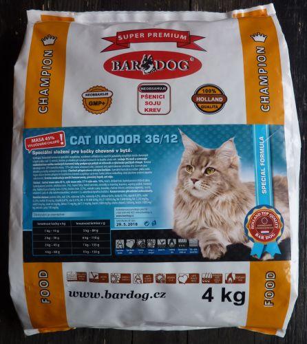 Bardog Cat Indoor 36/12 super prémium 4 kg