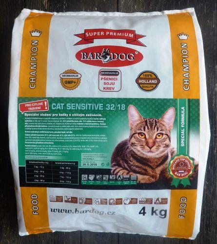 Bardog Cat Sensitive 32/18 super prémium 4 kg