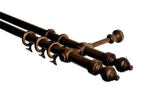 HEBR dřevěná ořech dvojitá garnýž