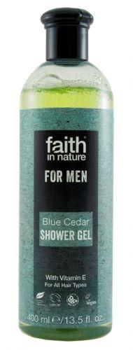 faith in nature Faith For Men přírodní sprchový gel BIO Modrý cedr 400 ml