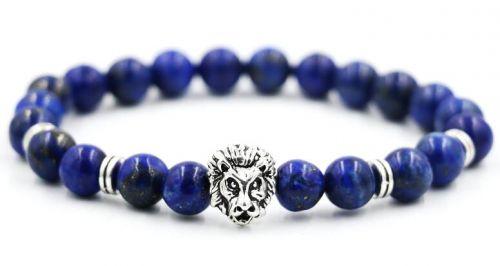 BRAUNYS stříbrný náramek se lvem a kameny Lapis lazuli