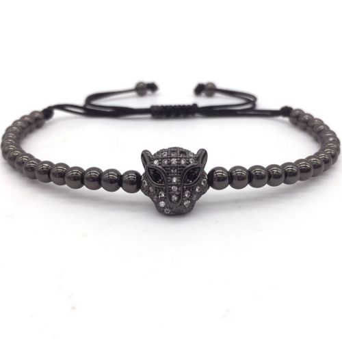 BRAUNYS Černý Shamballa náramek s leopardem