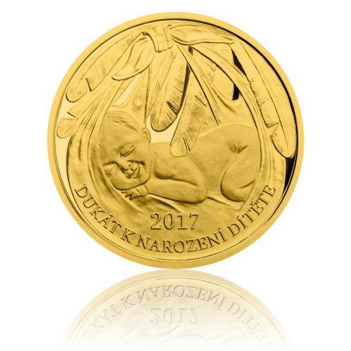 Česká mincovna Zlatý dukát k narození dítěte 2017 s věnováním proof