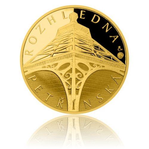 Česká mincovna Zlatá čtvrtuncová medaile Petřínská rozhledna proof