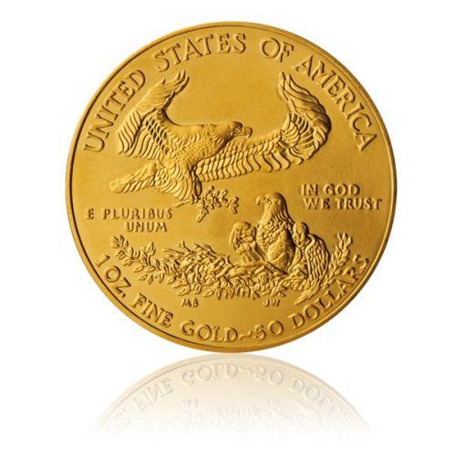 Česká mincovna Zlatá investiční 1 Oz mince 50 USD American Eagle stand
