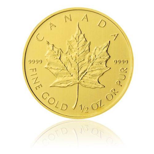 Česká mincovna Zlatá investiční mince 1/2 Oz 20 CAD Maple Leaf stand