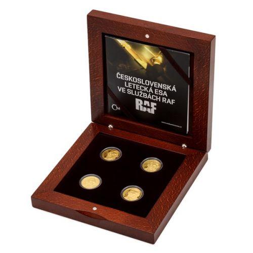 Česká mincovna Sada čtyř zlatých mincí Československá letecká esa ve službách RAF proof