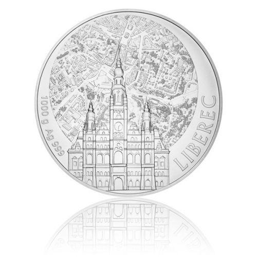 Česká mincovna Stříbrná kilová investiční medaile Statutární město Liberec stand