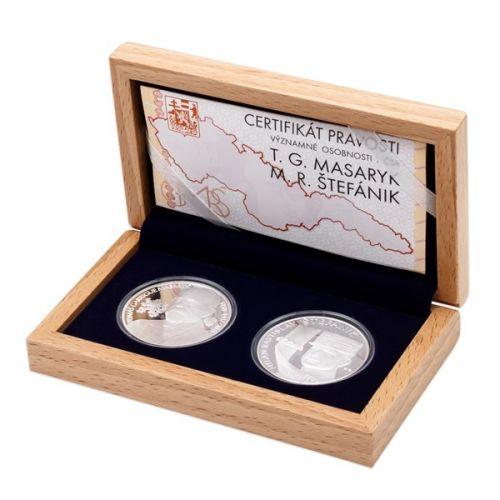 Česká mincovna Sada dvou stříbrných medailí T. G. Masaryk a M. R. Štefánik proof
