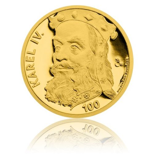 Česká mincovna Stříbrná pozlacená medaile s motivem 100 Kč bankovky Karel IV. proof