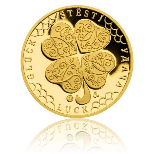 Česká mincovna Zlatá čtvrtuncová medaile Čtyřlístek pro štěstí s věnováním proof