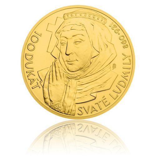 Česká mincovna Zlatá investiční mince 100dukát svaté Ludmily stand