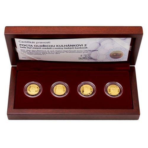 Česká mincovna Sada čtyř zlatých medailí Pocta Oldřichu Kulhánkovi 2 proof