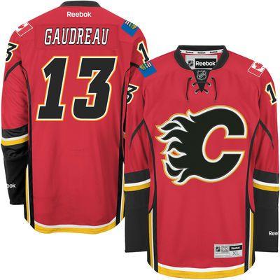 Reebok Johnny Gaudreau #13 Calgary Flames Premier Jersey Home dres