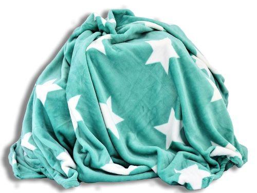 Homeville hvězdičky mátová mikroplyšová deka