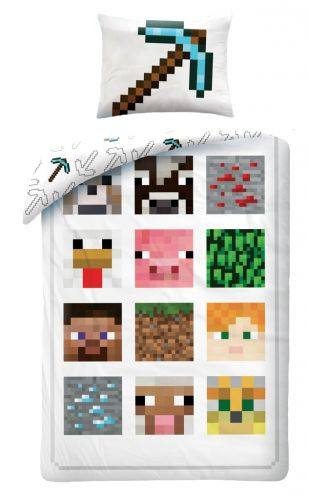 Halantex Minecraft 012BL bílé bavlněné povlečení