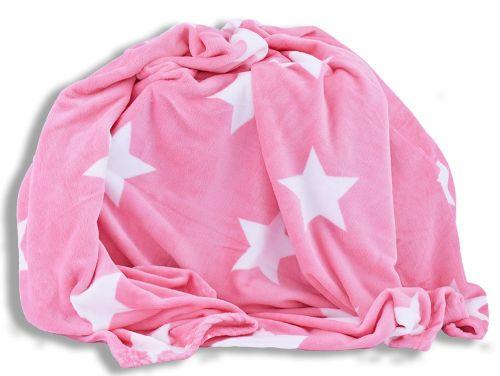 Homeville hvězdičky růžová mikroplyšová deka