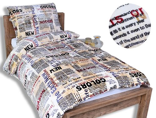 Homeville novinové články mikroplyšové povlečení