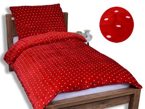 Homeville bílé puntíky červené mikroplyšové povlečení