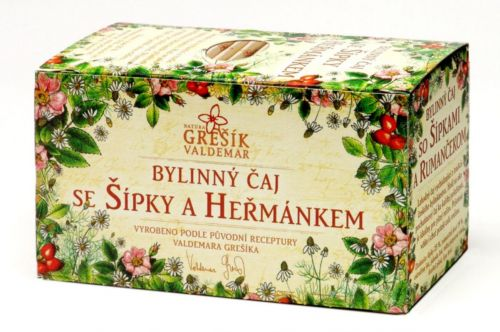 Grešík Se šípky a heřmánkem bylinný čaj 20x1,5 g cena od 39 Kč