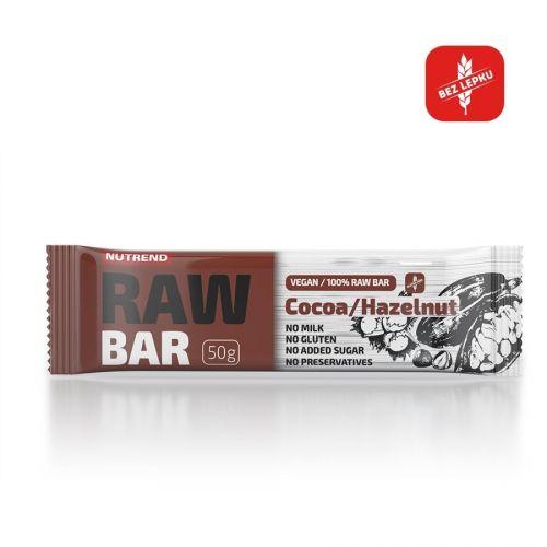 Nutrend Raw Bar Kakao + lískový ořech 50 g