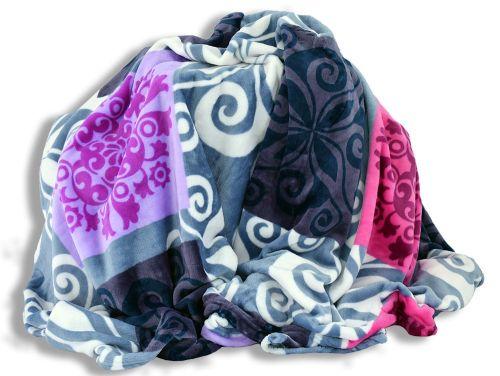 Homeville čtverce se vzory modrá/fialová mikroplyšová deka