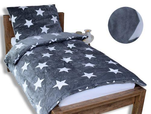 Homeville bílé hvězdičky šedé mikroplyšové povlečení