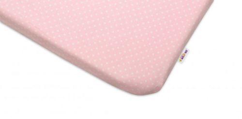 Baby Nellys Tečky růžové bavlněné prostěradlo