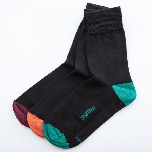 SmartMen Česká republika pánské černé Ponožky s barevnou špičkou a patou