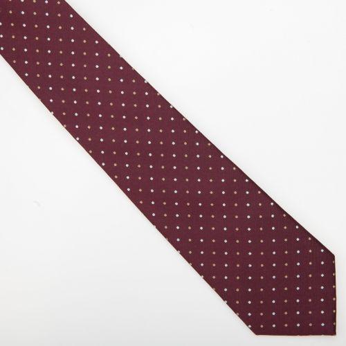 SmartMen Česká republika Vínově červená hedvábná kravata s puntíky