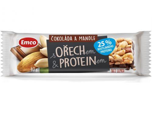 Emco Tyčinka s ořechem a proteinem čokoláda a mandle 40 g