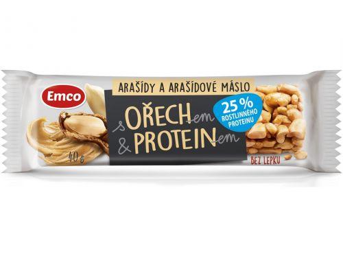 Emco Tyčinka s ořechem a proteinem - arašídy a arašídové máslo 40 g