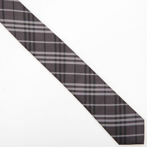 SmartMen Česká republika Károvaná kravata šedo černá slim