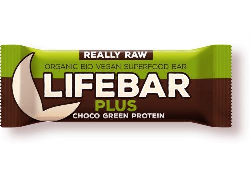 Lifefood Bio tyčinka Lifebar Plus čokoláda a konopný protein 47 g