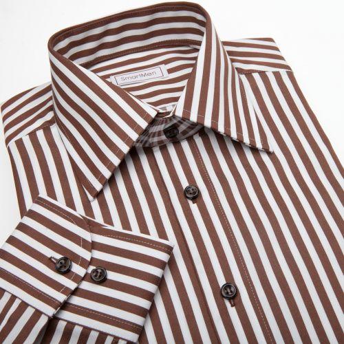 Produkt SmartMen Česká republika Slim košile v proužku s hnědými knoflíčky 4766f0a229