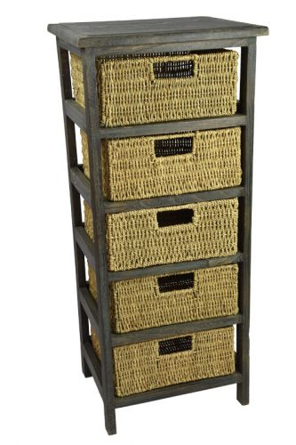 Twigo úzká komoda s košíky z mořské trávy