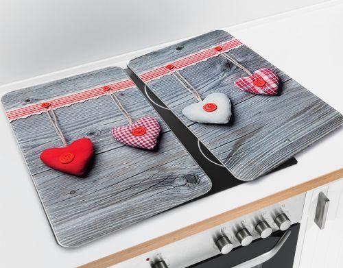 WENKO Ochranné skleněné desky na sporák HEARTS