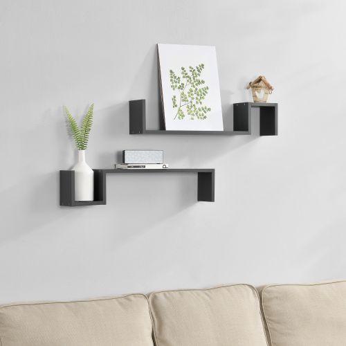 [en.casa]® Dvoudílná sada designových polic na zeď