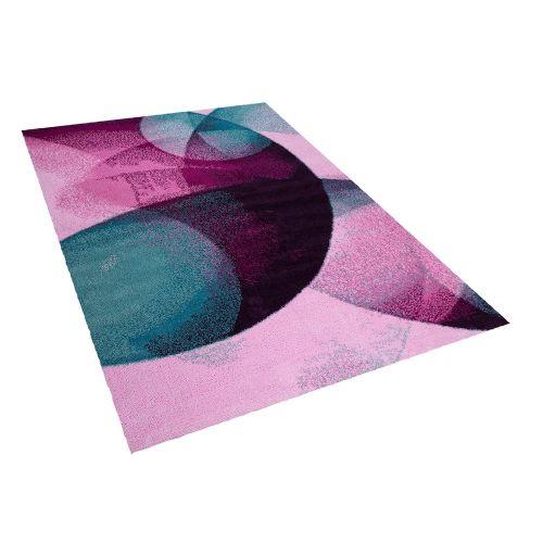 Beliani ALIMOS Zeleno-růžový koberec