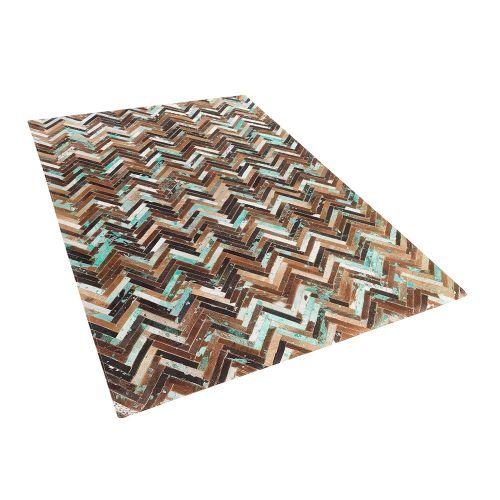 Beliani AMASYA koberec z hovězí kůže v hnědo-modrých odstínech