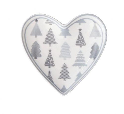 Krasilnikoff Porcelánový tácek Heart Christmas Trees cena od 0 Kč